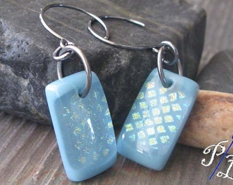 Clearance Sale. Sky blue fused glass earrings. Oxidized sterling silver. Sparkling dichroic flashes of color.  Lying in the Park...
