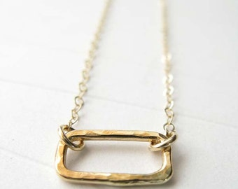 Minimalist 14k gold filled handmade necklace. Textured geometric rectangle. Modern delicate simple jewelry for her.  Artisan womens gift.