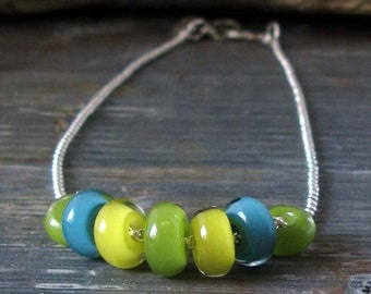 Colorful bright spring sterling silver necklace, petite boro glass beads. Tropical aqua, lime and yellow jewelry. Summer Twist.