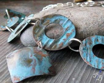 Clearance Sale. Turquoise copper verdigris necklace.  Sterling silver. Patina.  Mixed metal bold funky jewelry.  Organic.   Dreaming Big.