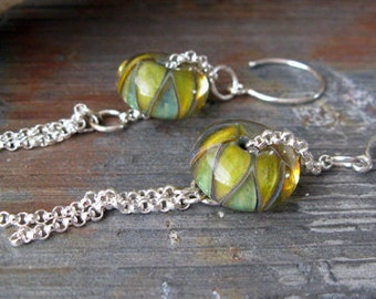 Spring glass earrings.  Boro lampwork beads.  Long dangle sterling silver.  Soft serene color.  Yellow, soft blue. Senses Unfold.