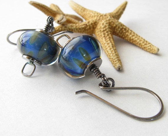 Cobalt blue lampwork bead earrings. Handmade boro glass with oxidized sterling silver jewelry. Tropical ocean waters. Artisan gift for her.