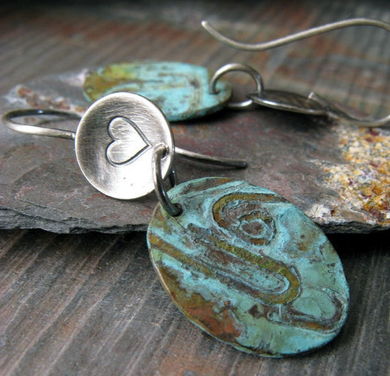 Verdigris earrings. Copper patina jewelry with sterling silver. Mixed metal organic dangles. Choose stamp.  Gift under 50.  For women.