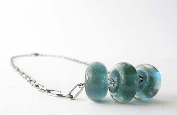 Aqua marine glass bead necklace.  Brushed sterling silver with sparkling teal. Simple minimalist gift.  Everyday chain. For her.