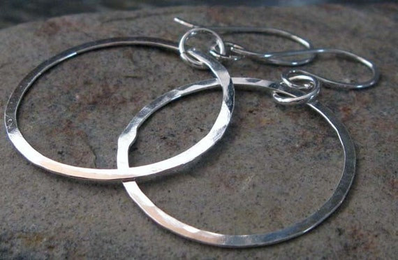 Hoop dangle earrings. Sterling Silver simple lightweight modern rings jewelry.  Artisan handmade gift for her.  Halo.