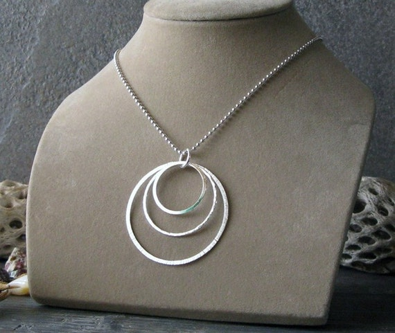 Large pendant necklace. Sterling silver ascending circle halo design. Trio rings pendant. Long, short or no chain.  Boho chic gift for women