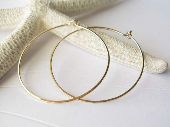 "Thin lightweight 14k gold filled hoops. Handmade 1 3/8"" modern reflective hammered earrings. 20 gauge metal wire work.  Made to order."