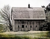Weathered Old Barn Photo -  Photographic Print - Country Barn - Landscape Photography - Abandoned Barn -  Fathers Day