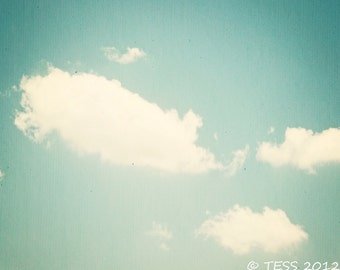 Summer Clouds Photo - Clouds Photographic Print  - Nature - Nursery - Teal Sky - Blue Sky Photo  - Summer Sky