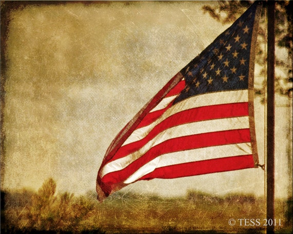 OLD GLORY Flag Photo -  Photographic Print - 4Th Of July - Sepia - Patriotic Flag  - Americana Flag - Sept 11