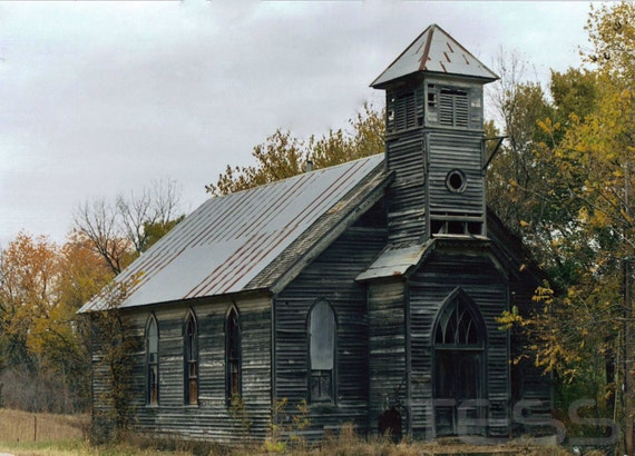 Old Wooden Church Photo 1 - Photographic Print -   Loess Hills Church