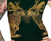 Kissing Jackalope tshirt dress - eco-friendly gold ink screenprint on forest green cotton - size XL - last one in stock