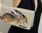 SALE Sleepy Belgian Hare Purse - Vegan - Handpainted OOAK - Vintage Stuart Weitzman