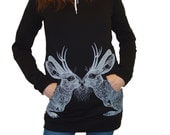 Kissing Jackalope hoodie dress - eco friendly screenprint on black cotton fleece - size Medium / One Size (fits USA 0-8)