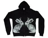 SALE Kissing Jackalope lightweight hoodie - eco-friendly silver ink screenprint on black cotton - Unisex size Medium