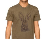 Sale - Brush Rabbit tshirt - eco-friendly brown ink screenprint on army cotton - unisex Mens size Small