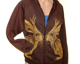 Kissing Jackalope zip fleece hoodie -  eco-friendly gold ink screenprint on brown cotton - ladies size M