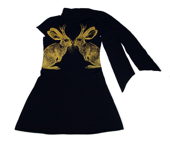 SALE Vintage Black Ralph Lauren Rugby Dress with metallic gold screenprinted Kissing Jackalopes - 100% wool - size Large