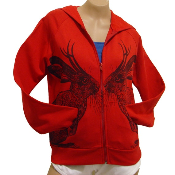 Kissing Jackalope hoodie sweatshirt - eco-friendly brown ink screenprint on red cotton - Ladies size Small