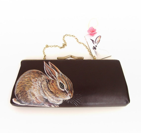 Sale - Pygmy Rabbit handpainted vintage clutch - OOAK - 40s 50s faux brown leather with gold plated trims, Christmas sale gifts