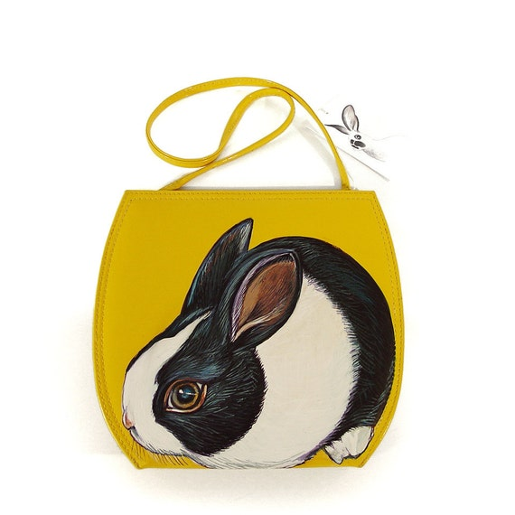 Mod Dutch Rabbit purse - handpainted 60s vintage style shiny yellow vinyl shoulder bag - ooak by NYhop