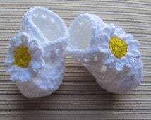 Instant Download Knitting Pattern #40 Baby Booties with an X-strap and Large Daisies