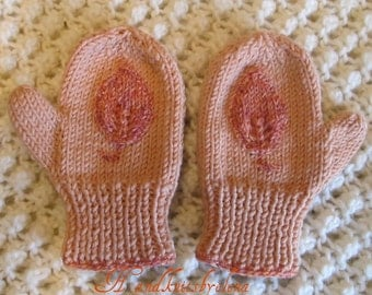 Knitting Pattern #27 Mittens with Leaves for a Baby Girl 2-3 years old