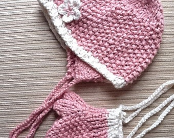 Knitting Pattern #14 Organic Cotton Hat and Mittens for a Baby Girl 12-18 months