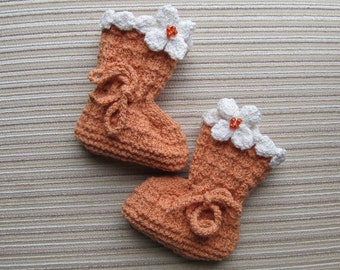 Instant Download Knitting Pattern #55 Orange Baby Booties with Cream Flowers 0-3, 3-6 Months