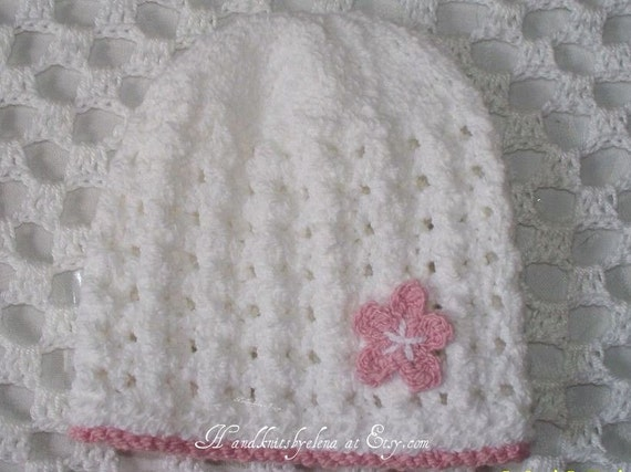 Number 1 KNITTING PATTERN Lacy White Cotton Hat with a  Crochet Flower 0-5 months, 24 months, teen-adult