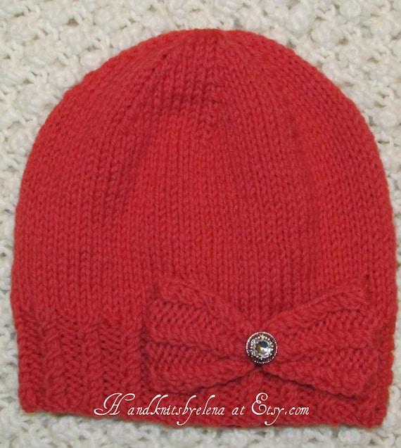 Merino Wool Knitting Patterns : Beginner KNITTING PATTERN Merino Wool Red Hat by handknitsbyElena