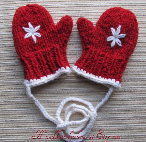 Number 22 KNITTING PATTERN Red Mittens for a Baby Girl 12-24 months