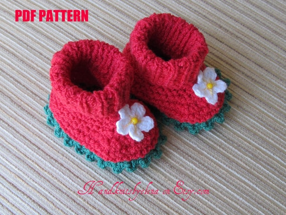 Number 37 KNITTING PATTERN Strawberry Cotton Booties 0-3, 3-6, 6-9 months