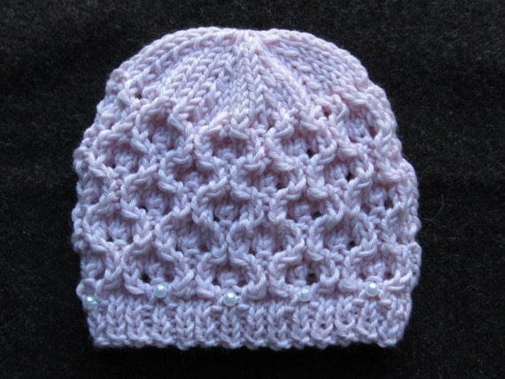 Bobble Hat Knitting Pattern Straight Needles : Number 51 Knitting Pattern Hourglass Eyelet Hat in Sizes 0-6