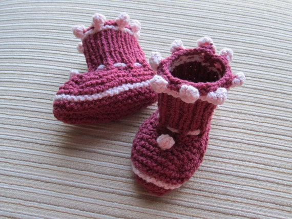 Number 54 KNITTING PATTERN Burgundy Booties with Pink Bobbles 3-6, 6-12 Months