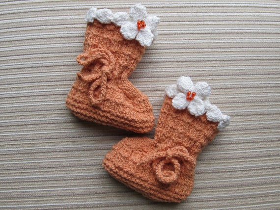 Number 55 KNITTING PATTERN  Orange Baby Booties with Cream Flowers 0-3, 3-6 Months