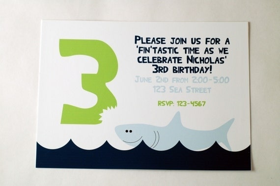 Ocean Shark Party Invitation-Printable PDF file