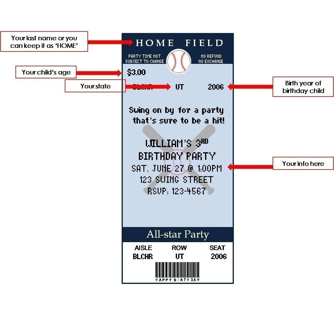 Printable Baseball Ticket Birthday Invitations .  Concert Ticket Template Word