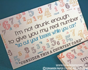 Not Drunk Enough for My Real Number Courtesy Card-Set of 8
