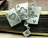 A Pack of Cards Necklace - Alice in Wonderland - matte silver