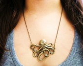 The Octopus Necklace - antique gold MADE IN USA Stamping
