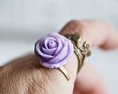 NEW - Hermione ring -  Sultry Purple Resin flower antiqued brass plated