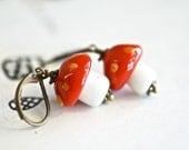 NEW - Amanita Muscaria earrings - Red Orange on White - Lampworked Glass Mushroom Beads - grigio