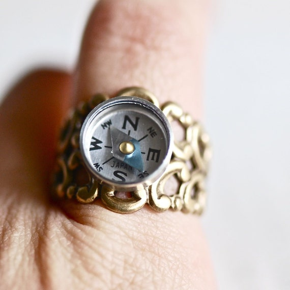Compass Ring - Working compass - Made in USA findings