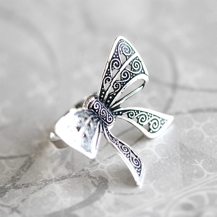 bow tie ring antiqued sterling silver plated by grigio on etsy