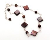 SALE / CLEARANCE - Chocolate Brown Rivershell & Silver Anklet