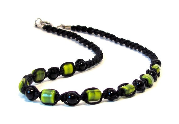 Lime Green Czech Glass & Onyx Black Hemp Necklace