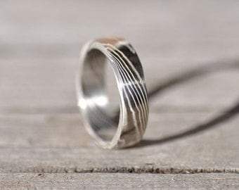 silver and palladium mokume gane ring