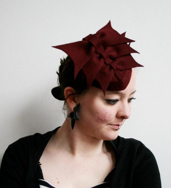 Pillbox Hat in Burgundy Felt with Felt Bows vintage style tilt hat