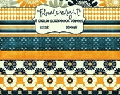 Digital Scrapbook Paper Pack -Floral Delight